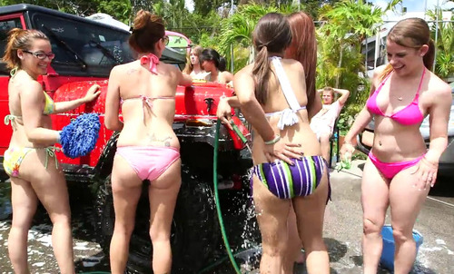 girl wash College car