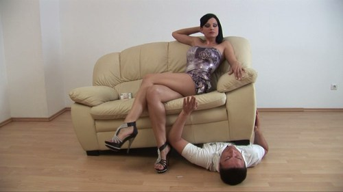 Sofa On Slaves Chest Female Domination