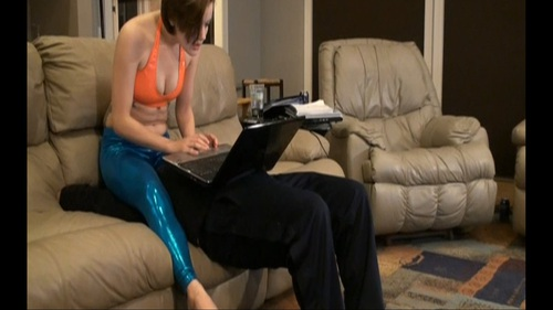 Face Bouncing In Tights While Shopping Femdom