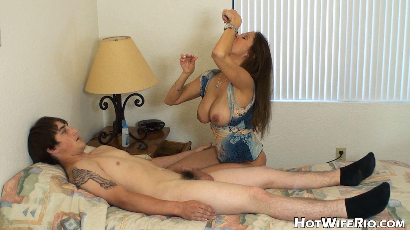 Boy cums twice with sexy mom 9