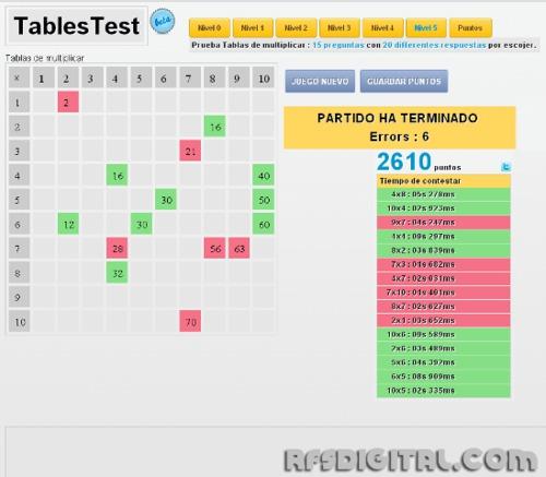 TablesTest.com - Entretenido juego para aprender a multiplicar