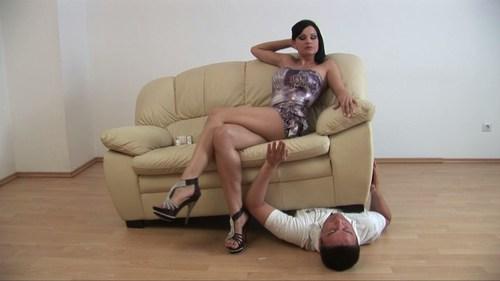 Sofa On Slaves Chest Femdom