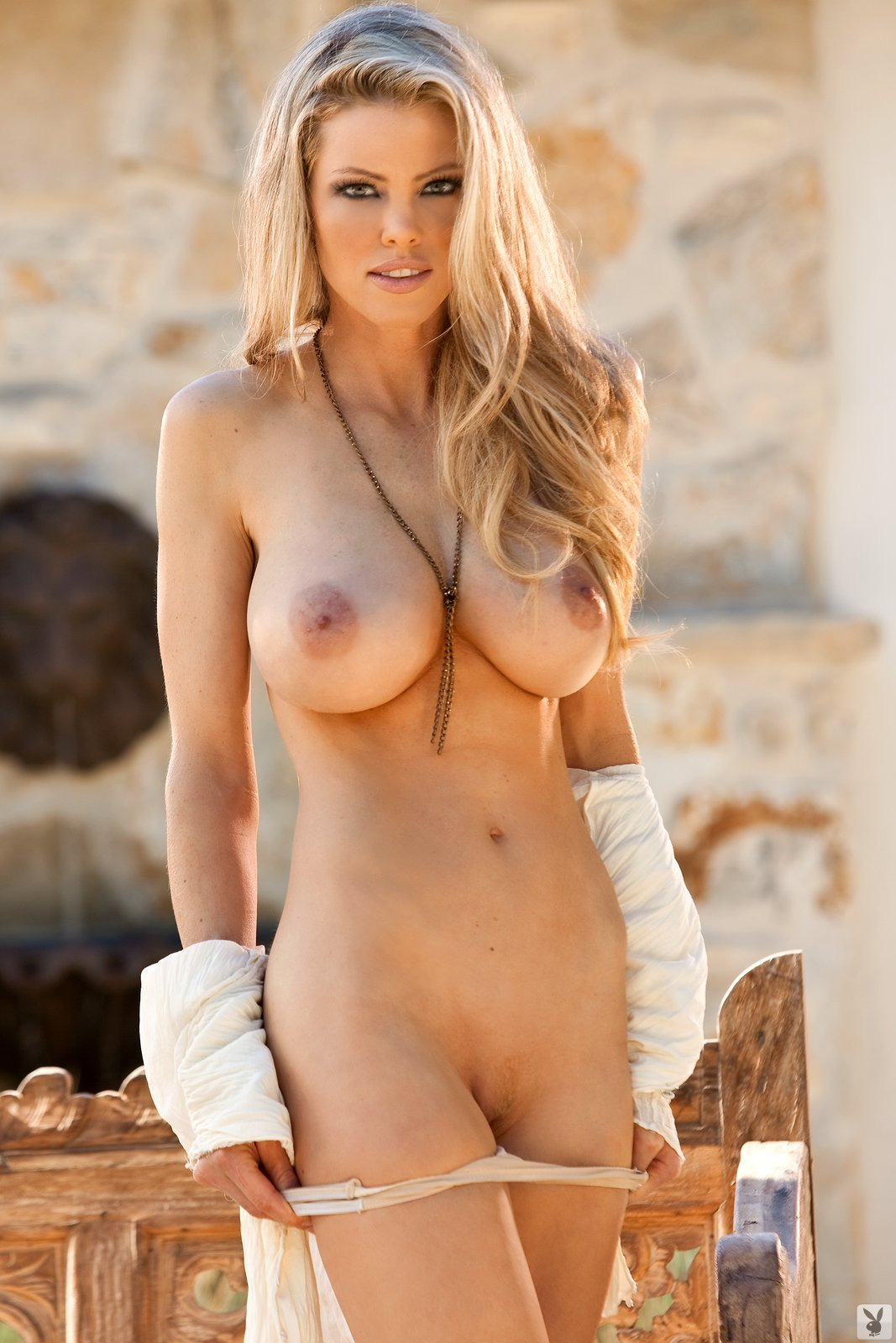 Busty playboy babe dana harem nude in the white room